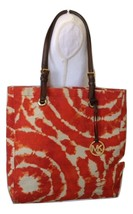 Michael Kors Beige/orange Canvas Tote - $36.47