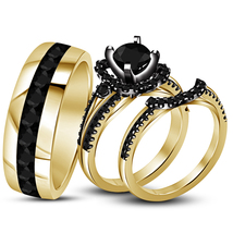 Black Diamond His Her Wedding Anniversary Trio Ring Set 14k Gold Over 92... - $148.99