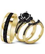 Black Diamond His Her Wedding Anniversary Trio Ring Set 14k Gold Over 92... - £91.87 GBP