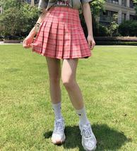 Women Girls Green Plaid Skirt Plus Size Pleated Plaid Skirt Pleated Tennis Skirt image 9