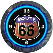 "Vintage Look Route 66 Round Neon Light Neon Clock 15""x15"" - $69.00"