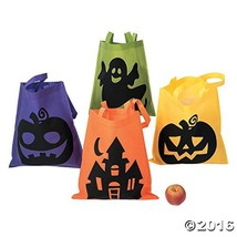 Multicolor Halloween Tote Bags W/ Handles Perfect For Trick Or Treat 12 ... - $20.72