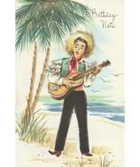 Vintage Birthday Card Man on Beach Guitar Palm Trees 1968 Sunshine Card ... - $10.88