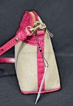 NWT Brahmin Mini Duxbury Shoulder Bag in Punch Harbor, Pink Leather/Beige Fabric image 12