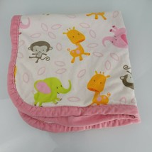 Blankets and Beyond Plush Elephant Giraffe Monkey Blanket Pink Trim And ... - $14.84