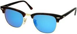 Ray-Ban Clubmaster Tortoise Frame Blue Mirror Flash Lens RB3016 1145/17 - $154.75