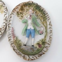 """Hand Painted Pastel Bisque Wall Plaques, Colonial Pair. """"Occupied Japan"""" image 5"""