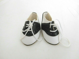 """Black & White Tie Saddle Shoes Oilcloth for Medium Size Doll 2.5"""" Long - $7.99"""