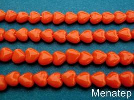 50 6x6mm Czech Glass Heart Beads: Opaque Orange - $3.03