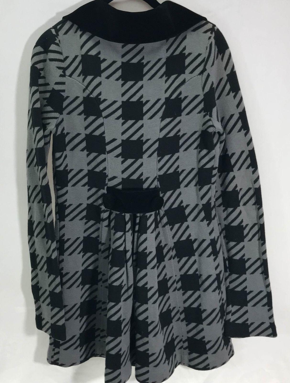 Betsey Johnson Large Herringbone Double Breasted Plaid Black Collar Coat Jacket