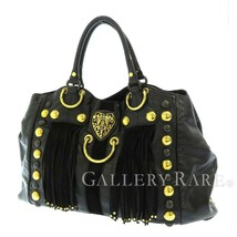 GUCCI Tote Bag Leather Black Babouska Heart Studs Fringe 207301 Italy Au... - $631.52