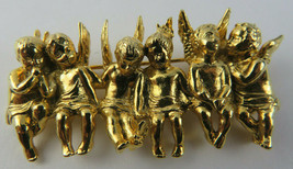 VINTAGE EDGAR BEREBI GOLD TONE CHERUB ANGELS SITTING ON A BENCH PIN BROOCH - $65.00