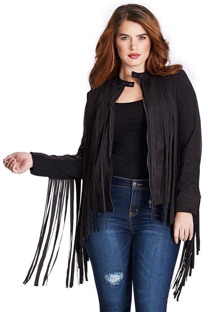 QASTAN Women's Black/Maroon Long Fringe Suede Cow Leather Jacket WWJ12