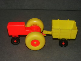 Fisher Price Little People: Red Farm Tractor + Yellow Cart - $11.00