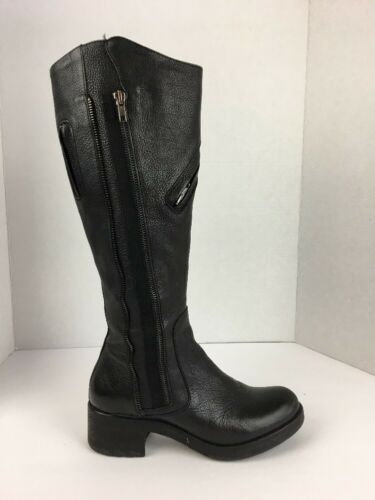 Primary image for Vera Wang Women Evan Boot 6.5 M Black Pebbled Leather Ridding Moto Tall Zipper