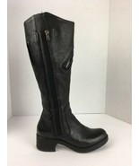 Vera Wang Women Evan Boot 6.5 M Black Pebbled Leather Ridding Moto Tall ... - $128.69