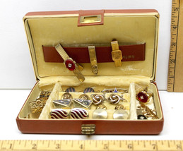 Vintage Mens Cuff Links 8 Pair+5 Tie Clasps Masons+Golfers Gold Silver P... - $59.60