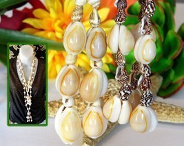 2 Vintage Cowrie Cowry Necklace Sea Shell Seashell Tassel Handmade Lei - $23.95