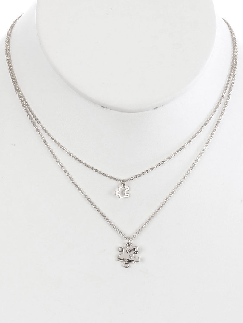 Layered Puzzle Piece Love Autism Awareness Necklace Silvertone