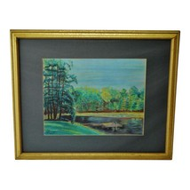 Vintage Framed Lake Scene Landscape Pastel Drawing - Artist Signed - $295.00