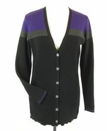 RALPH LAUREN Size 1X Color Blocked Ribbed Cotton Cardigan Sweater - $13.99