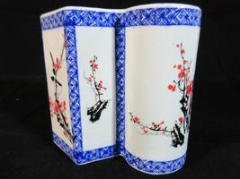 Vintage Asian Decor Pen Pencil Holder Hand Painted Blue White Red Ceramic - £17.82 GBP