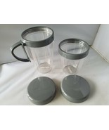 Nutri Bullet 900 Series Replacement Cups Large & Small Handle Lids Plast... - $23.24