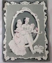 1940s Artistic Card Victorian Young Man & Woman Walking Shih Tzu Dog w/ ... - $3.51
