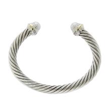 David Yurman Sterling Silver 14k Gold 7.5mm Pearl Cable Cuff Bracelet »B2 - $416.08