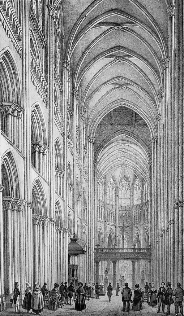 FRANCE Interior of Rouen Cathedral - SUPERB 1843 Antique Print