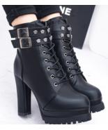99b152 Thick & high heel Martin booties, size 5-9, black - $58.80