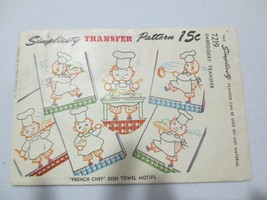 "Simplicity Transfer Pattern 7219 ""French chef"" Dish Towel Motifs Uncut - $15.00"