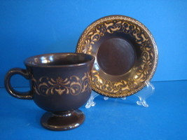 Jamoca Franciscan 1 Cup Saucer Footed Brown Yellow Earthenware Man Cave ... - $16.20