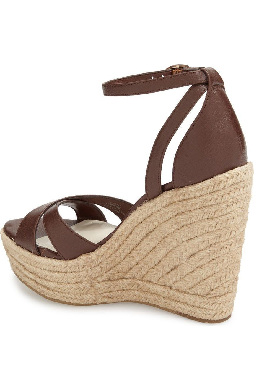 Women's BCBGeneration Holly Espadrille Wedges, BG-HOLLY Cognac Sizes 6-9 Leath