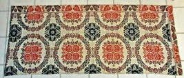 "Antique 1835 Overshot Table Runner 84"" x 34"" Roses Grapevine Grapes Rings - $173.25"