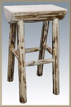 Backless Wooden Bar Stools 24 in. Amish Made Log Barstool Rustic Cabin F... - $214.62
