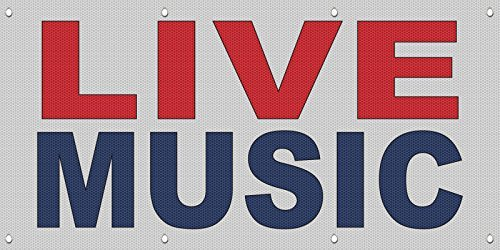 Live Music Red Blue MESH Windproof Fence Banner Sign 2 Ft X 4 Ft