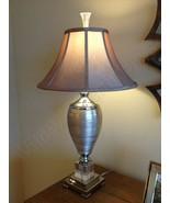 Metalic Spun Silver Table Lamp Gunmetal Champagne 33H Accent Crystal Bas... - $334.40