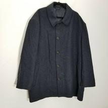 Ralph Lauren Mens Jacket 60 R Wool Blend Navy Blue Herringbone Lined Ove... - $58.04