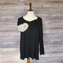 New MOA sz L womens black crochet elbows asymmetric hem long sleeves top... - $11.88