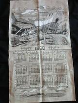 Vintage Tea Towel 1968 Calendar Wagon Train Country Crossing 17 x 29 Unused - $24.97
