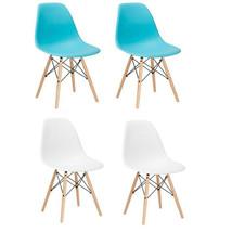 2 WHITE AQUA EIFFEL PLASTIC SHELL DINING SIDE CHAIRS WOOD DOWEL LEGS EAM... - $109.99