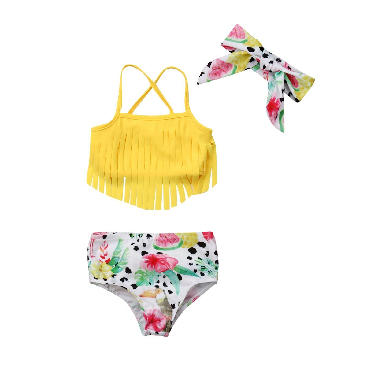 Newborn Infant Baby Girl Swimwear Suit Bird Floral Top Pant Outfit Beach Tankini