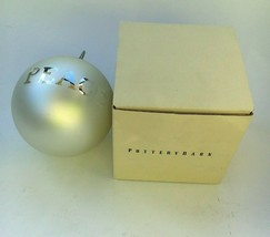 "Pottery Barn Christmas Ornament 4"" Round Silver Globe ""Peace""  - $16.99"