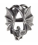 Stealth Pewter Ring Outstretched Hugging Vampire Bat Wings Alchemy Gothi... - $21.95
