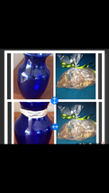 """Set of 2 Blue Glass Vases Approx  8"""" With 2 bags of citrus potpourri - $99.99"""