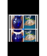 "Set of 2 Blue Glass Vases Approx  8"" With 2 bags of citrus potpourri - $99.99"
