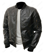 Mens Vintage Zipper Varsity Letterman Baseball Bomber Cowhide Leather Ja... - $104.00