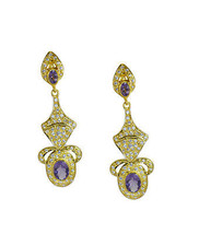 Amethyst casually Sterling Silver elegant Natural Purple Earring gift UK - $27.26