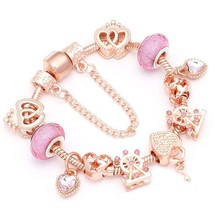 BAOPON New Rose Gold Color Fine Bracelets & Bangles Wheel Beads Charm Br... - $22.66